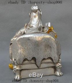 8Old Chinese Silver Gilt Dragon Guan Gong Guan Yu Warrior God Read Book Statue
