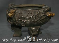8 Marked Old Chinese Silver Gilt Dynasty Palace Dragon Handle Incense Burners