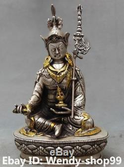 9 Chinese Buddhism Silver Gilt Seat Padmasambhava BuddhaRinpoche Buddha Statue
