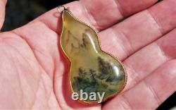 AMAZING Antique CHINESE Double Reverse Hand-PAINTED GLASS Silver Gilt Pendant