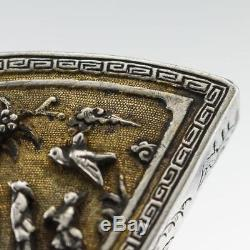 ANTIQUE 18thC RARE CHINESE KANGXI PERIOD SOLID SILVER-GILT FAN-SHAPED BOX c. 1700
