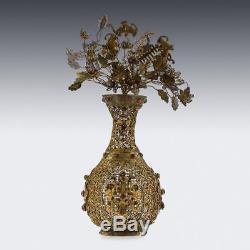 ANTIQUE 18thC RARE CHINESE SILVER GILT FILIGREE & GEM SET VASE c. 1760