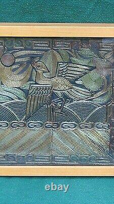 ANTIQUE 19c CHINESE FORBIDDEN STICH GOLD&SILVER TREADS RANK IMBROIDERY, FRAMDD#2