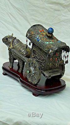 ANTIQUE 19c CHINESE SILVER&GILT WEDDING OX CARTDECORATED WithDRAGONS, BATS, FU-LIONS