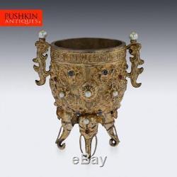 ANTIQUE 19thC CHINESE IMPRESSIVE GEM SET & SILVER GILT EMPERORS CUP c. 1880
