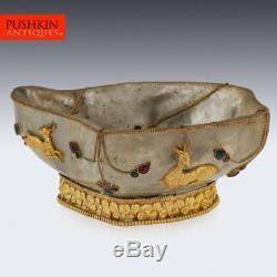 ANTIQUE 19thC CHINESE SILVER-GILT & ROCK CRYSTAL, GEM SET BRUSH WASH BOWL c. 1880