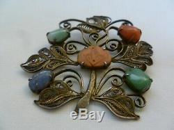 ANTIQUE CHINESE GILT FILIGREE STERLING SILVER BROOCH With SEMI PRECIOUS STONES