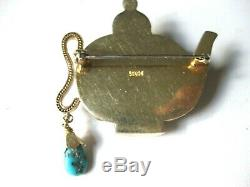 ANTIQUE CHINESE SILVER GILT PIN-BROOCH TEEPOT with NATURAL CORALS & TURQUOISES