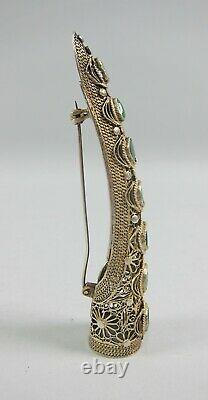 ANTIQUE CHINESE SILVER&GILT VERMIEL FINGER NAIL GUARD BROOCH Jade Inset Discs