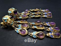 ANTIQUE DECO CHINESE EXPORT SILVER GILT 925 AMETHYST ENAMEL EARRINGS 6CM 14g WOW