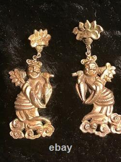 ANTIQUE UNIQUE CHINESE EXPORT EARRINGS 1800's FIGURAL DEITY GILT SILVER