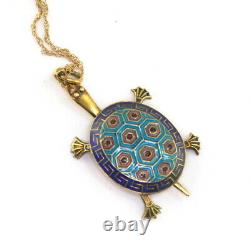 ANTQ Chinese Deco Gilt Silver Enamel Articulated Turlte Pndant 14K Gold Necklace