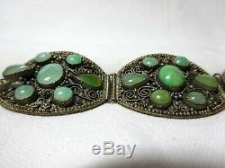 A Beautiful Chinese Cabochon Jade Gilded & Silvered Panel Bracelet