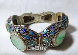A Magnificent Carved Jade Enamel Gilded Silver Filigree Panel Bracelet Chinese