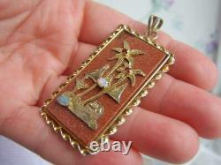 Amazing Asian Silver Gilt Mounted HUGE Goldstone Opal Chinese Fortune Pendant