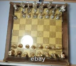 An Unusual Gilt and Silvered Lead Chinese Chess Set with Board & Box