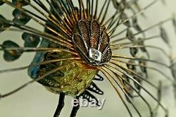 = Antique 1900's Chinese Gilt Silver Filigree & Enamel Peacock w. Fanned Tail