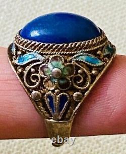 Antique 1920's Chinese Lapis Silver Gilt Enamel Flowers Floral Filigree Ring