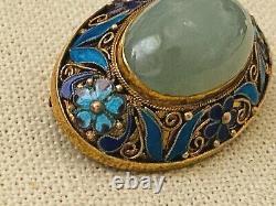 Antique 1920s Chinese Silver Gilt Filigree Floral Enamel Jade Brooch