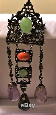 Antique 19thC Export Chinese Silver Gilt Jade Tourmaline Coral Brooch Pendant