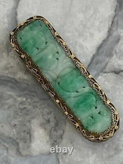 Antique Art Deco Chinese Natural Jade Solid Silver-Gilt Dress Clip Carved