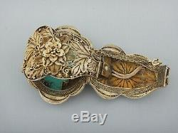 Antique C1920 Silver Gilt And Turquoise Chinese Filigree Bracelet