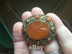 Antique CHINESE Carved Carnelian PIN BROOCH Vintage Gilt Silver Filigree Setting