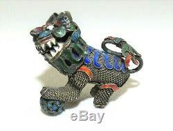 Antique CHINESE FOO DOG Lion Head Filigree Gilt Silver Enamel Head Turns