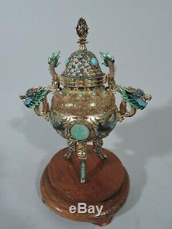 Antique Censer Incense Burner Chinese Silver Gilt Enamel Turquoise Jade