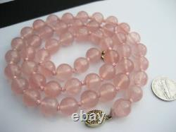 Antique Chinese 10mm Pink Quartz Beaded Necklace Gold Silver Filigree Clasp 25