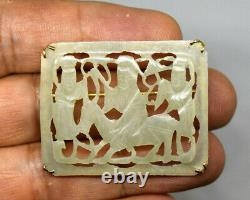 Antique Chinese 14K Gold and Natural Hand Carved Celadon Jade Pin/Brooch/Pendant