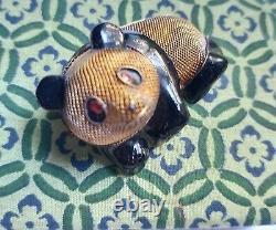 Antique Chinese 3D Silver Filigree Enamel Panda Bear Ruby Eyes Brooch Pin
