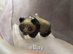 Antique Chinese 3D Silver Filigree Enamel Panda Bear Ruby Eyes Brooch Pin NFOS