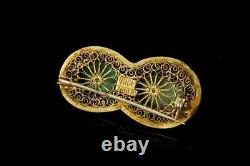 Antique Chinese Blue Green Turquoise Gilt Silver Filigree Pin Brooch D130-09