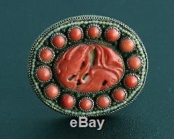 Antique Chinese Carved Coral Filigree Gilt Sterling Silver Dress Clip / pin