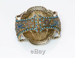 Antique Chinese Carved Coral Lotus Enamel Gilt Silver Bracelet