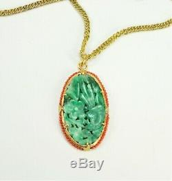 Antique Chinese Carved Jade Coral Gilt Sterling Silver Pendant