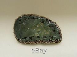 Antique Chinese Carved Jade Gilt Silver Brooch Pin