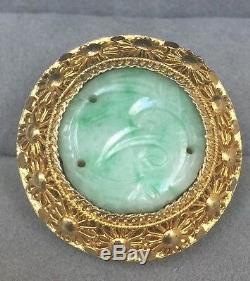 Antique Chinese Carved Jade Gilt Silver Filigree Vintage Ring size 6 1/4