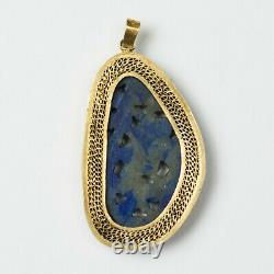 Antique Chinese Carved Lapis Lazuli Necklace Pendant Gold Washed Silver 1-5/8