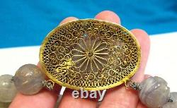 Antique Chinese Carved Lavender Jade Necklace Gold Sterling Silver 90.2 Grams