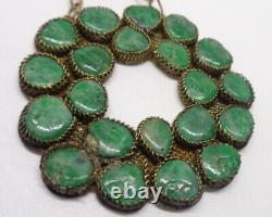 Antique Chinese Carved Natural Jade Hallmarked 19 Silver Gilt Filigree Necklace