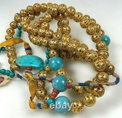 Antique Chinese China Qing Court Necklace Gilt Silver Gemstone1900