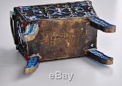 Antique Chinese China Qing Silver Enamel Gilt Jade Censer Incense Burner 1900