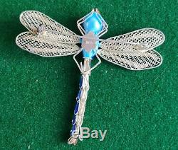 Antique Chinese Cloisonne Filigre Sterling Gilt Enamel Articulated Dragonfly Pin