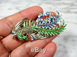 Antique Chinese Enamel Gold Washed Silver Filigree Phoenix Fenghuang Brooch Pin