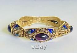 Antique Chinese Export Bracelet Gold Gilt Sterling Silver Enamel Amethyst Bangle