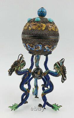 Antique Chinese Export Filigree Gilt Silver Enamel Dragons Censer Urn Indents