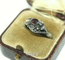 Antique Chinese Export Garnet 14k Gold Sterling Silver Snake Adjustable Ring Rg3