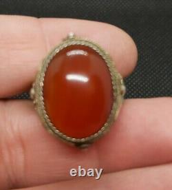 Antique Chinese Export Gilded Sterling Silver Filigree Cornelian & Enamel Ring